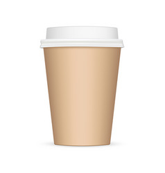 brown blank coffee cup mockup front view vector image