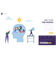 Business team work together as mechanism web page vector