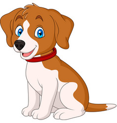 Cartoon cute dog wearing a red collar vector