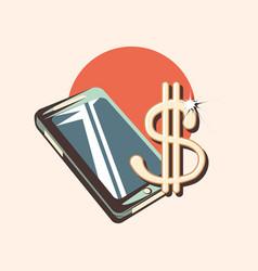 Cellphone dollar sing retro shopping style vector