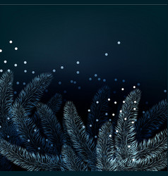 christmas background with fir twig and snow vector image