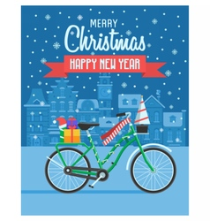 Christmas bike greetings card vector