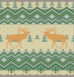 christmas knitted woolen seamless pattern vector image