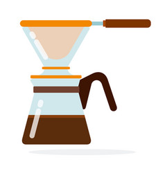 Coffee maker with filter flat isolated vector