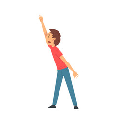 Cute boy student standing and rising his hand vector