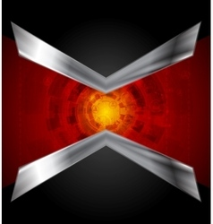 Dark tech design with metallic arrows vector image