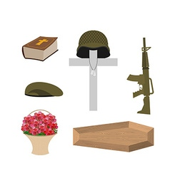 Death of a military veteran Soldier funeral vector image