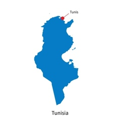 Detailed map of Tunisia and capital city Tunis vector image