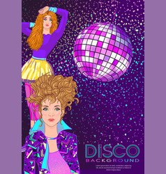 disco time party design template with fashion girl vector image
