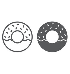 donut line and glyph icon food and sweet cake vector image