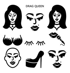 Drag queen icons set drag show drag perfo vector