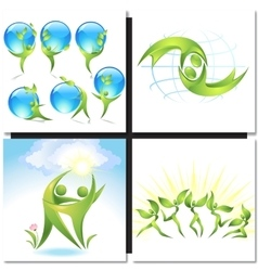Eco-icon green dancers with tree concept vector