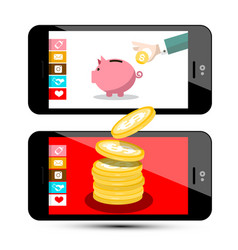 Finance concept money app on smartphone flat vector