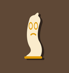 Flat icon design sad condom silhouette in sticker vector