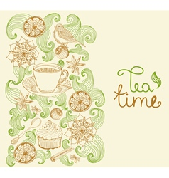 floral card with tea cup vector image