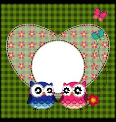 Frame of cute owls vector