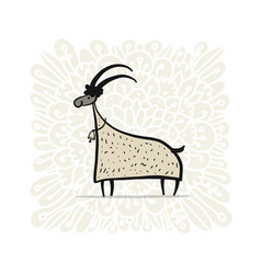 Funny goat simple sketch for your design vector