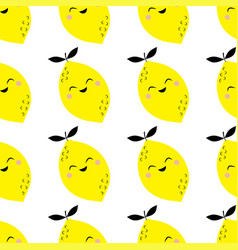 funny lemon seamless pattern isolated on white vector image