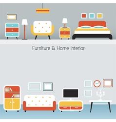 Furniture Flat Design Frame and Background vector