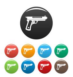 Gangster pistol icons set color vector