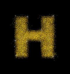 Gold dust font type letter h vector