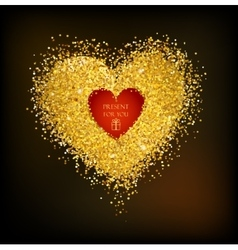 Golden frame in the shape of a heart vector