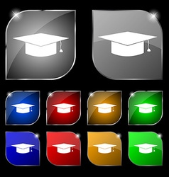 Graduation cap icon sign Set of ten colorful vector