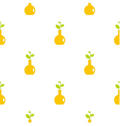 Green plant in a yellow vase pattern flat vector