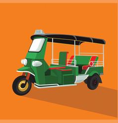 green tuk tuk in thailand vector image