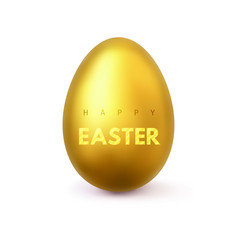 happy easter gold realistic easter egg vector image