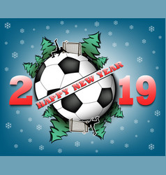 Happy new year 2019 and soccer ball vector