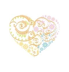 Happy Valentine Day heart decor pink blue orange vector