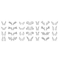 horn animal deer devil simple line icon set vector image
