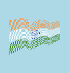 india flag on blue background wave stripes vector image