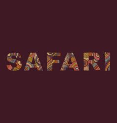 inscription of safari in ethnic style vector image