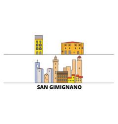 italy san gimignano city flat landmarks vector image