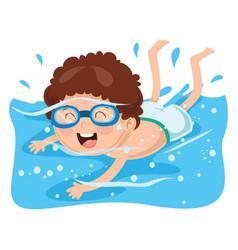kid swimming vector image