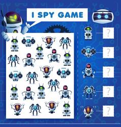 Kids i spy riddle cartoon robots education game vector