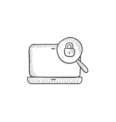 Laptop and magnifying glass sketch icon vector image