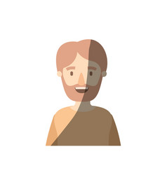 Light color shading caricature half body man vector