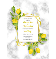 marble wedding invitation card with lemon brunches vector image