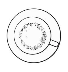 Matcha tea latte cappuccino drink top view vector