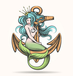 Mermaid with crown on anchor vector