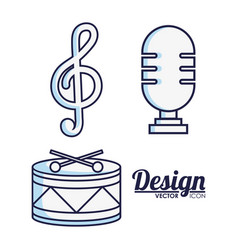 Microphone and music related icons vector