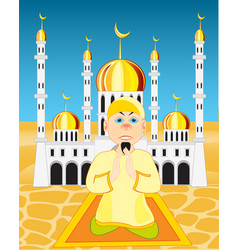 Moslem on background of the mosques vector