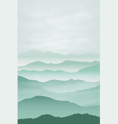 Mountains in fog background vector