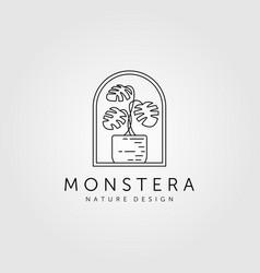 Nature monstera plant line art minimalist logo vector