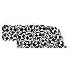 nebraska state map collage of football balls vector image