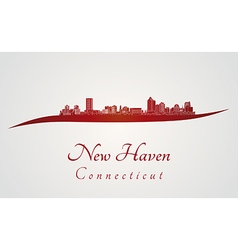 New Haven CT skyline in red vector