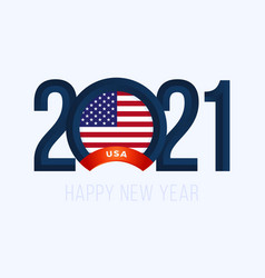 new year 2021 with usa flag with lettering happy vector image